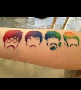 Colorful style Beatles tattoo