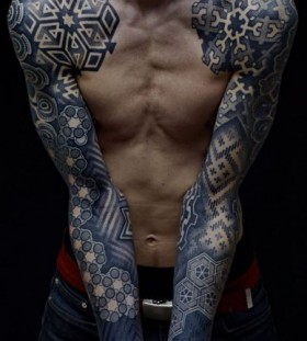 Cool Berlin style men's arm tattoo