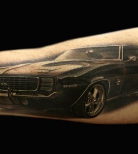 Cool black car tattoo