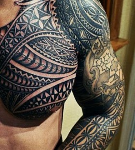 Cool black king style tattoo on arm