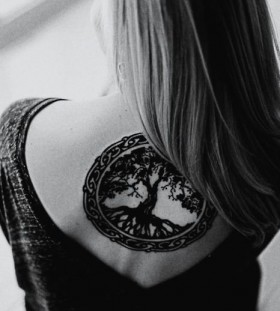 Cool hair and tree tattoo