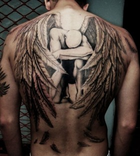 Cool looking angel men's back tattoo