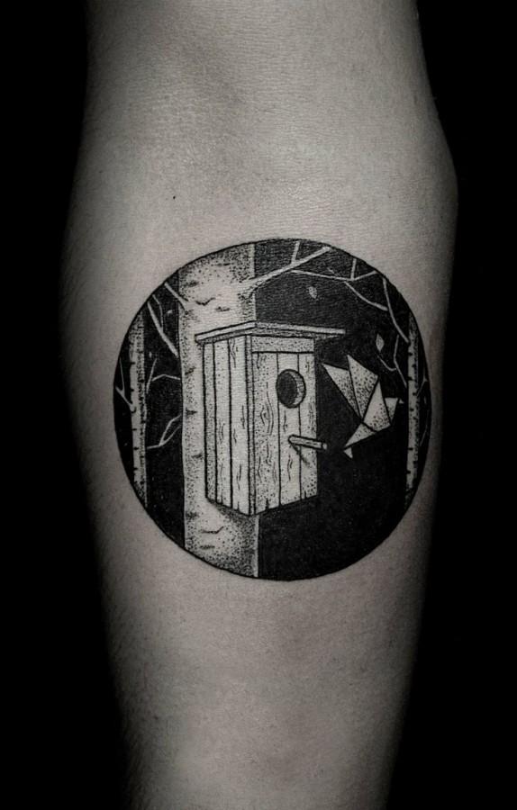 Cool looking black Ilya Brezinski tattoo