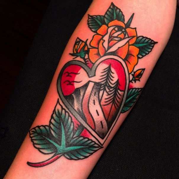 Cool looking roses and tattoo by Austin Maples