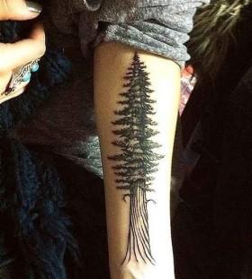 Cool nails black tree tattoo