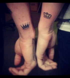 Couple lovely crown tattoo