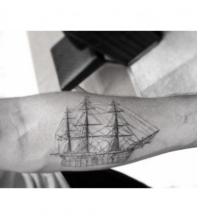Crazy looking black ship tattoo
