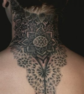 Crazy style tattoo on neck