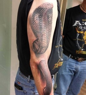 Cruel black snake tattoo on arm and shoulder