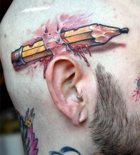 Cruel pencil tattoo by Victor Chil