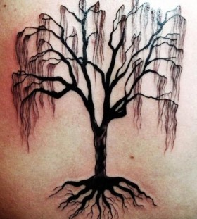 Crying amazing black tree tattoo