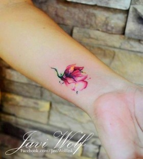 Cute red flower tattoo