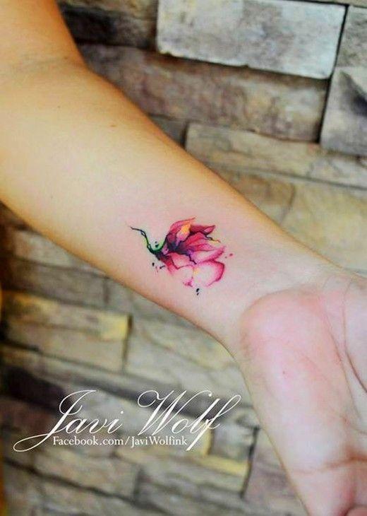Cute red flower tattoo