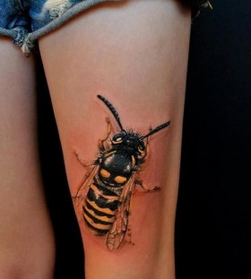Cute yellow bee tattoo on leg