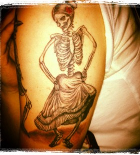 Dancing skull dancing tattoo