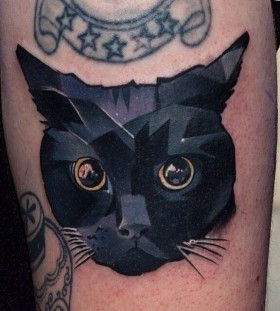 Deep black eyes cat tattoo