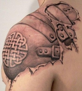 Different ornaments men's shoulder tattoo