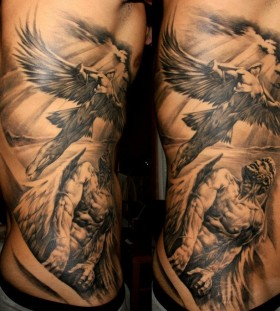 Double men's angel tattoo
