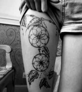 Dream catcher leg's tattoo