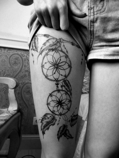 Dream catcher leg's tattoo