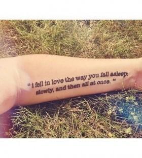Epic literary hand's love tattoo