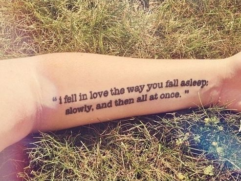 Epic style quote tattoo