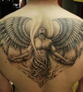 Fallen angel Satan men's back tattoo