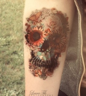Flower eyes watercolor skull tattoo