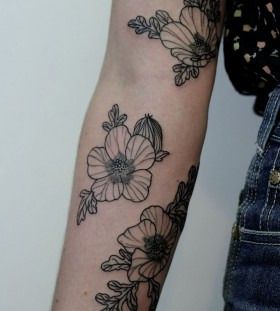 Flowers and leafs Victor J Webster tattoo