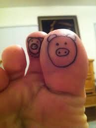 Foot fingers pig tattoo