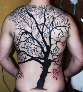 Full men's back black tree tattoo