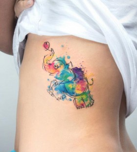Funny elephant tattoo by Candelaria Carballo