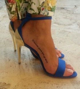 Funny leg placement tattoo