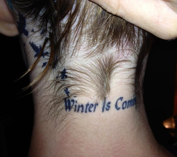 Games of Thrones style winter tattoo