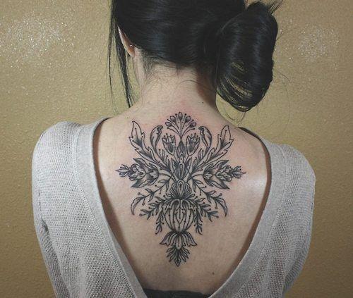Geek black back tattoo