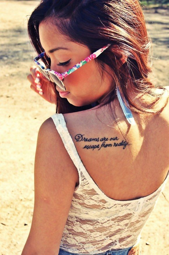 Girl, glass and quote tattoo