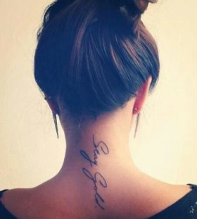 Girl's neck love tattoo