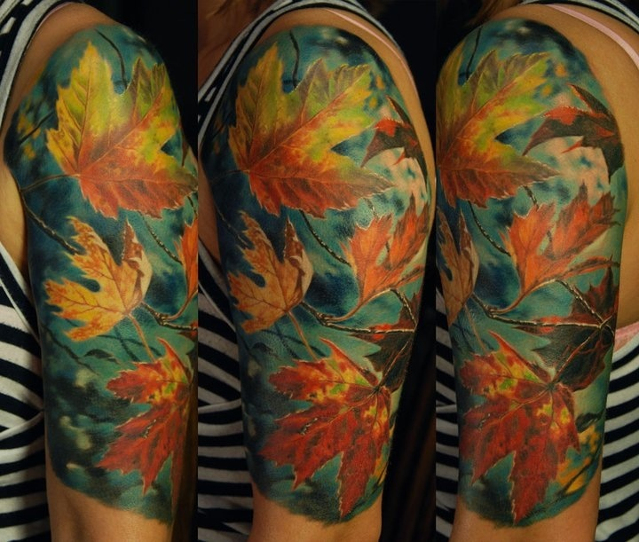 Girl's shoulder autumn colorful tattoo