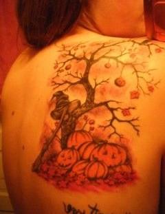 Girl's shoulder autumn tattoos