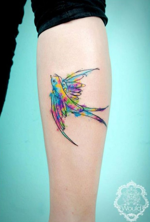 Gorgeous bird tattoo by Candelaria Carballo