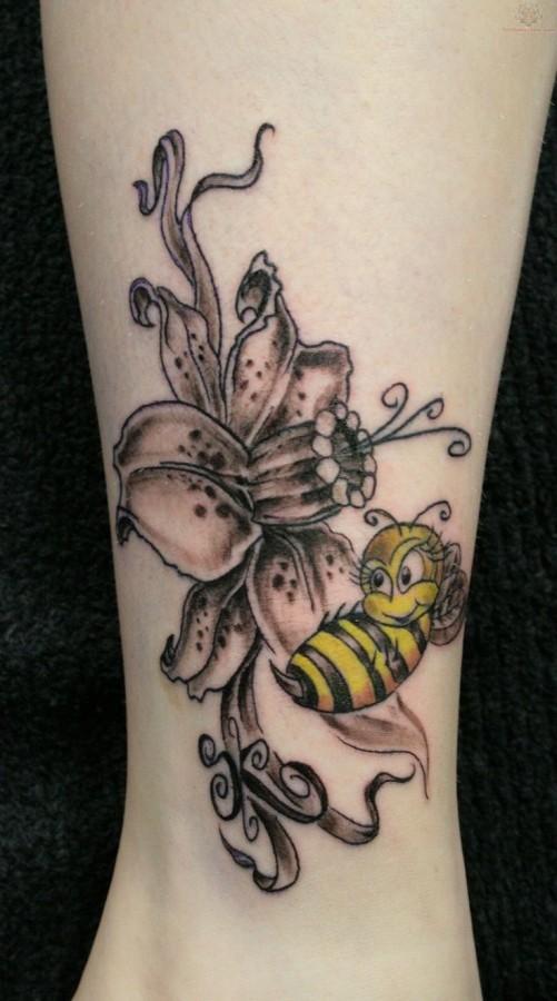 Gorgeous black bee tattoo on leg