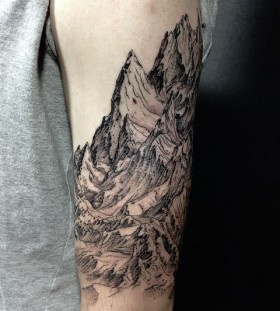 Gorgeous black mountain tattoo