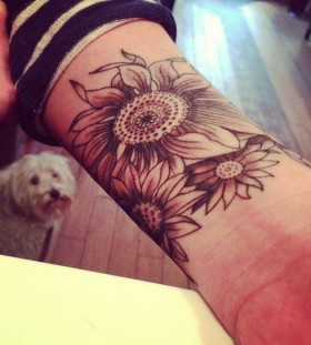 Gorgeous black sunflower tattoo