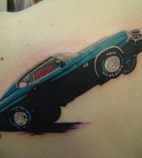 Gorgeous blue car tattoo
