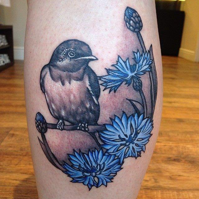 Gorgeous blue cornflower tattoo
