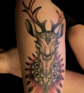 Gorgeous deer tattoo by Dodie