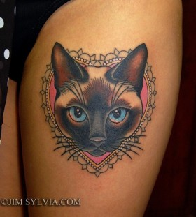 Gorgeous heart and cat tattoo