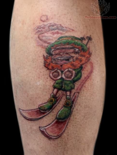 Gorgeous look of skiing tattoo