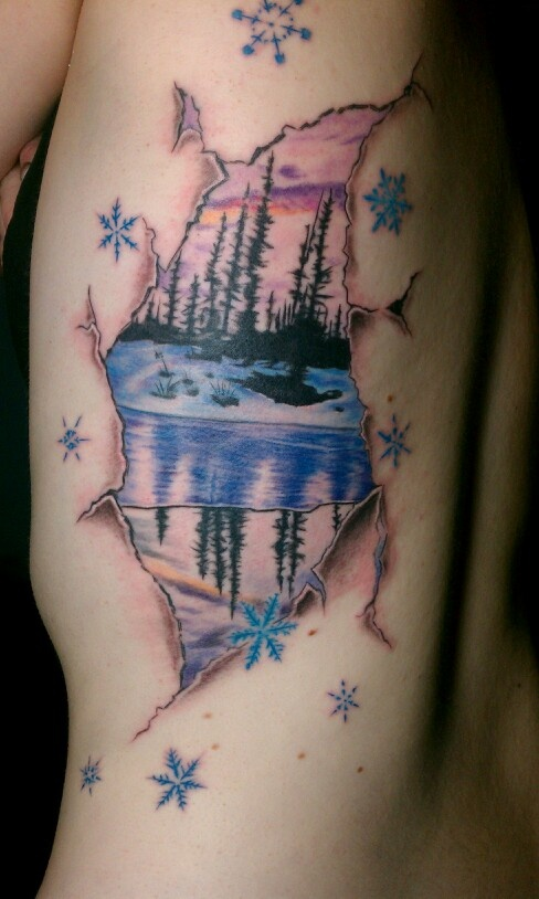 Gorgeous nature winter tattoo