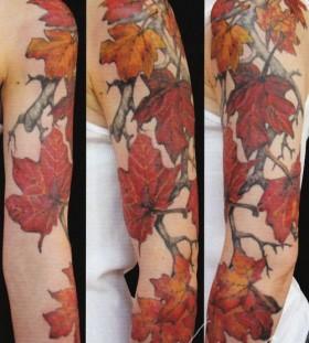 Gorgeous shoulder autummn leafs tattoos
